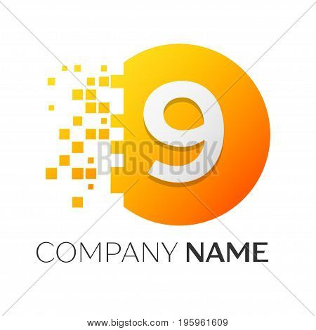 Realistic number nine vector logo symbol in the colorful circle with shattered blocks on white background. Pixel Motion. Vector template for your design