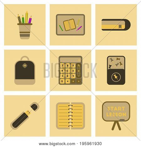assembly of flat icons set office pins notebook calculator board bag usb pencil table
