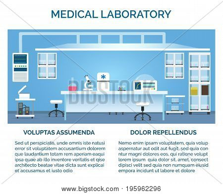 Medical laboratory vector illustration. Doctor or scientist test chemical lab interior