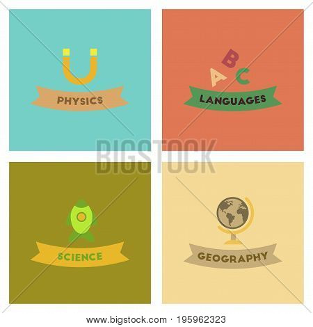 assembly of flat icons rocket science geography physics languages