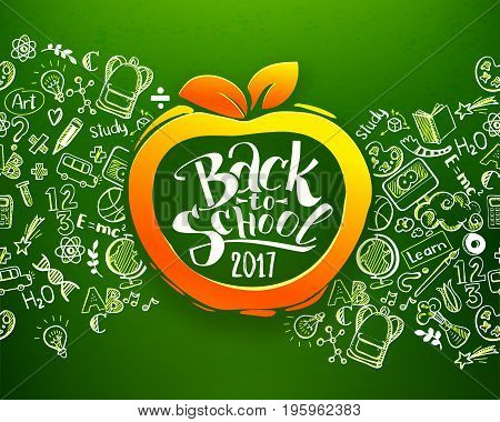 Back to school Horizontal chalkboard with hand drawn pattern and lettering on orange apple form frame. Education background for design, branding, web, brochures, folder, banners. School typography