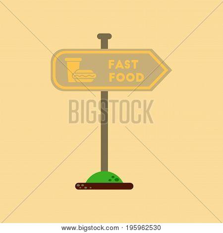 flat icon on stylish background fast food sign