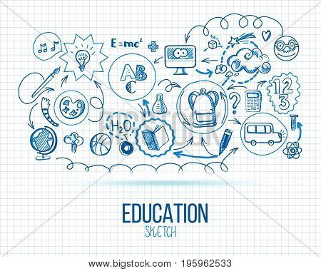 School infographic. Vector illustration of school supplies and subjects interaction. Sketch design concept for web and mobile services. Icons for online education, learning infographics, web banners