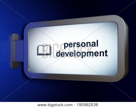 Studying concept: Personal Development and Book on advertising billboard background, 3D rendering