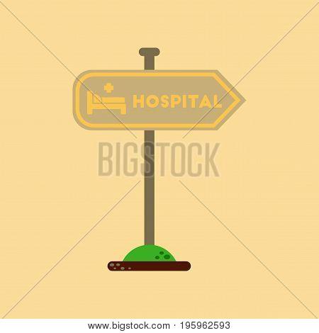 flat icon on stylish background hospital sign