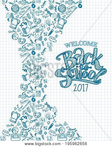 Vertical vector sketch back to school background wit hand drawn typography logo. Doodle illustration of stationery isolated. Template can used for design, branding, web, brochures, folder, banners
