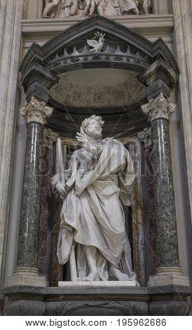 Marble statue disciple of Jesus the Apostle of St. James the Lesser by de Rossi in Basilica di San Giovanni in Laterano (St. John Lateran basilica) in Rome. Rome Italy June 2017