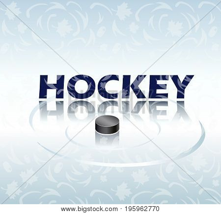Hockey text and Hockey black pack on abstract background. Poster. Winter games. Vector illustration