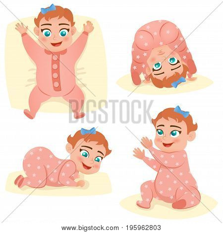 Set with cute smile little baby girl in pink pajama. Happy child. Vector illustration.