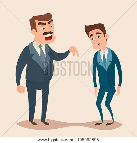 Angry boss man character screams and shouting to worker, employee concept design. Vector flat cartoon illustration.