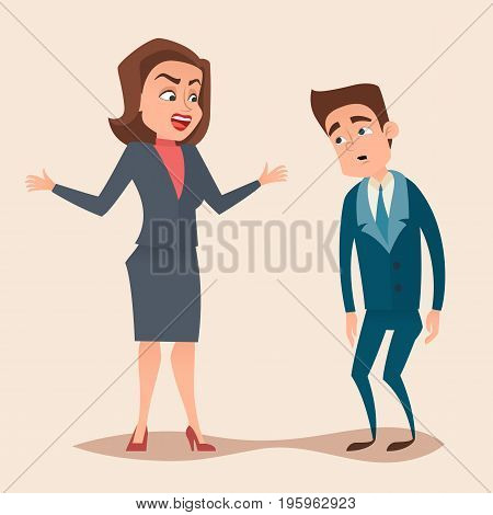 Angry boss woman character screams and shouting to worker, employee concept design. Vector flat cartoon illustration.