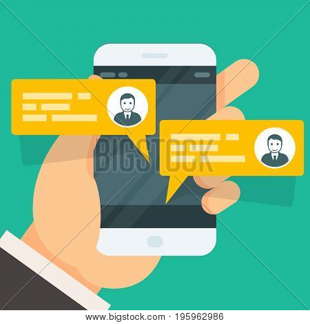 Incoming messages on smartphone screen - chat conversation