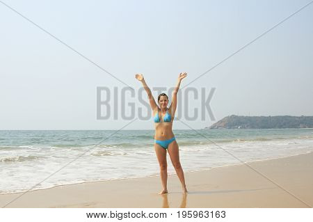 Beauty woman relaxing on the tropical beach