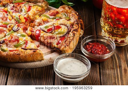 Homemade Pizza With Bacon, Paprika And Corn