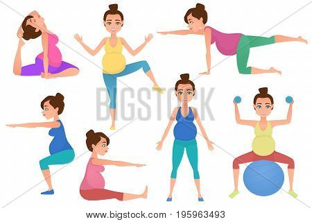 Set of young beautiful pregnancy woman character meditation while sitting yoga position. Fitness healthy lifestyle. Vector set of pregnant yoga poses. Vector illustration.
