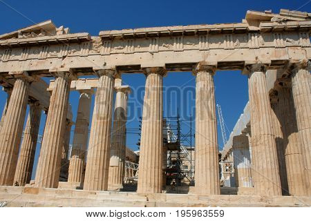 Parthenon temple in Acropolis Hill in Athens Greece