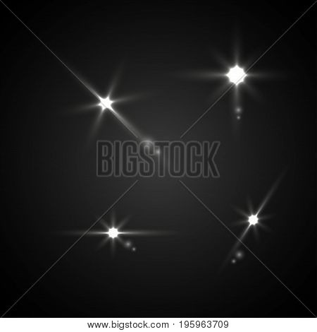 Light effect in space. Heavenly bodies in space