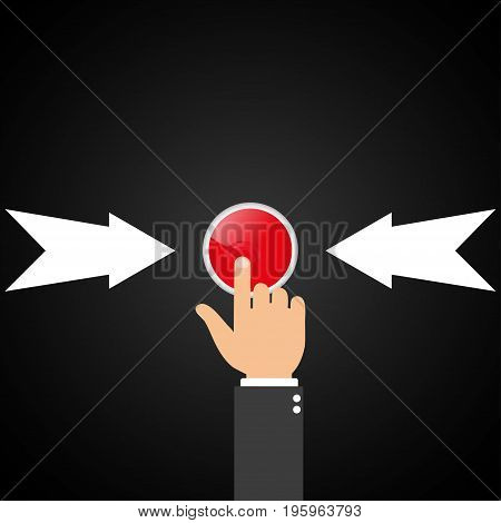 Red button with arrows. The finger presses the red button