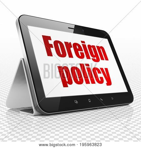 Political concept: Tablet Computer with red text Foreign Policy on display, 3D rendering