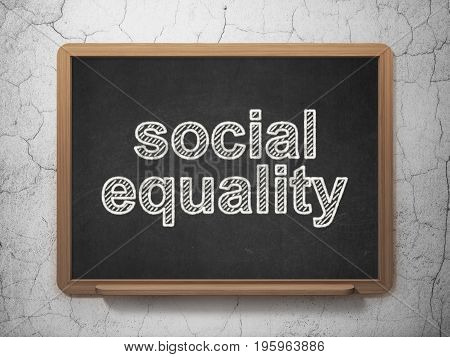 Politics concept: text Social Equality on Black chalkboard on grunge wall background, 3D rendering