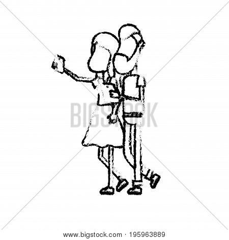figure beauty couple with hairstyle and smartphone in the hand vector illustration