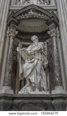 The statue of St. Matthew by Rusconi in the Archbasilica St.John Lateran San Giovanni in Laterano in Rome. Rome Italy June 2017