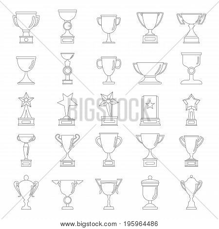 Gold cup awards icons collection in black simple line style isolated on white background. Elements for cup awards design and web