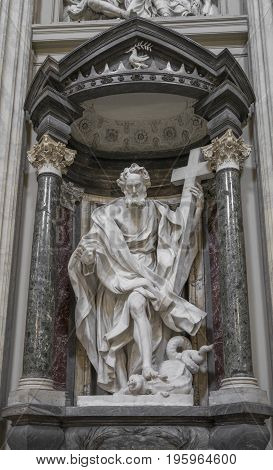 The statue of St. Philip by Mazzuoli in the Archbasilica St.John Lateran San Giovanni in Laterano in Rome. Rome Italy June 2017