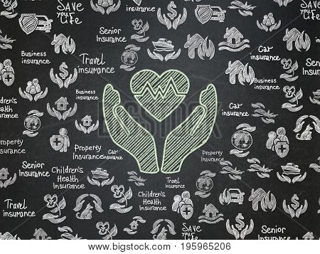 Insurance concept: Chalk Green Heart And Palm icon on School board background with  Hand Drawn Insurance Icons, School Board