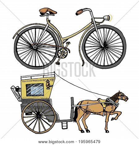 Horse-drawn carriage or coach and bicycle, bike or velocipede. travel illustration. engraved hand drawn in old sketch style, vintage transport
