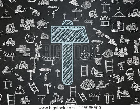 Construction concept: Chalk Blue Hammer icon on School board background with  Hand Drawn Building Icons, School Board