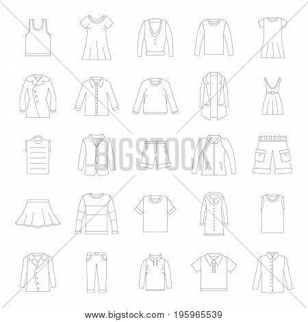 Clothes icons set in thin line style. Vector set clothing on white background including dresess, skirts, shorts, pants, tops and t-shirts