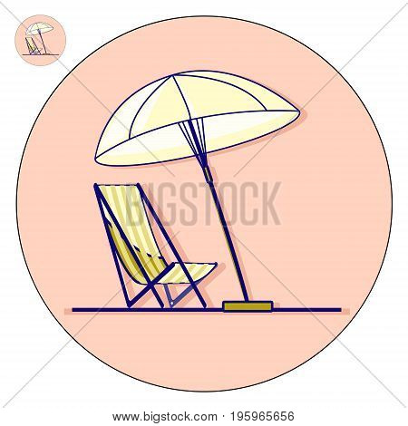 Beach chaise longue with umbrella vector flat illustration. Holiday logo and icon