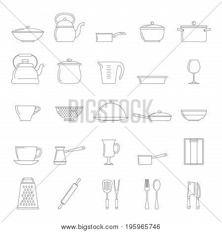 Kitchen dishes icons set in thin line style isolated on white background. Elements for dishes design and web