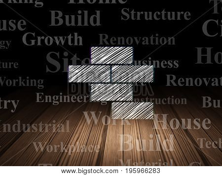 Construction concept: Glowing Bricks icon in grunge dark room with Wooden Floor, black background with  Tag Cloud