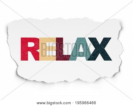 Travel concept: Painted multicolor text Relax on Torn Paper background