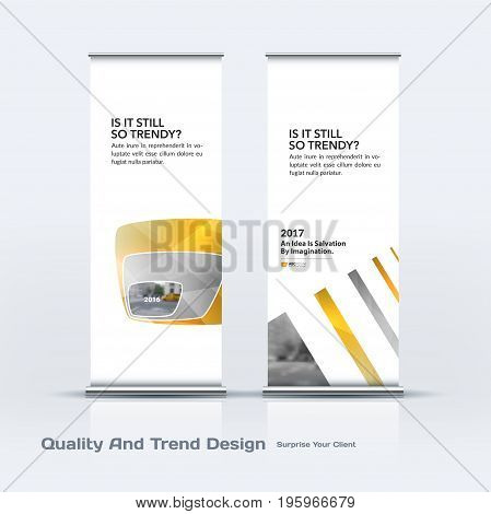 Abstract business vector set of modern roll Up Banner stand design template with yellow soft, rounded shapes for eco, market, exhibition, show, expo, presentation, parade, events.