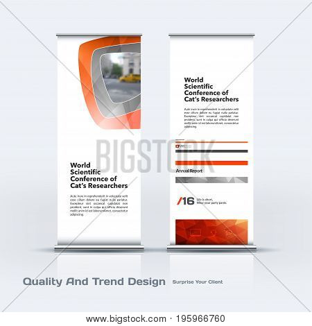 Abstract business vector set of modern roll Up Banner stand design template with red soft, rounded shapes for eco, market, exhibition, show, expo, presentation, parade, events.