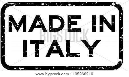 Grunge black made in italy square rubber seal stamp on white background