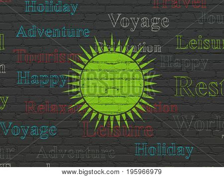 Travel concept: Painted green Sun icon on Black Brick wall background with  Tag Cloud