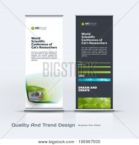 Abstract business vector set of modern roll Up Banner stand design template with green soft, rounded shapes for eco, market, exhibition, show, expo, presentation, parade, events.