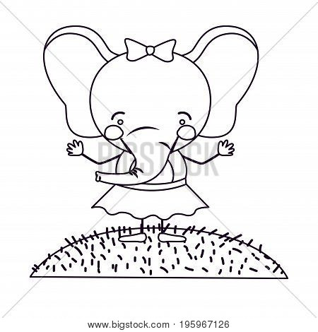 sketch silhouette scene landscape and grass with caricature cute expression female elephant in skirt with bow lace vector illustration