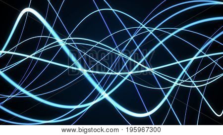Abstract Smooth Sinusoidal Blue Lines On A Dark Background, 3D Illustration