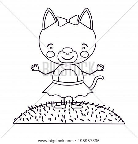 sketch silhouette scene landscape and grass with caricature cute expression female cat in skirt with bow lace vector illustration