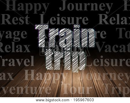 Vacation concept: Glowing text Train Trip in grunge dark room with Wooden Floor, black background with  Tag Cloud