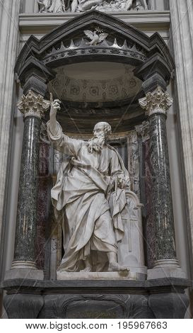 The statue of St. Thomas by Le Gros in the Archbasilica St.John Lateran San Giovanni in Laterano in Rome. Rome Italy June 2017