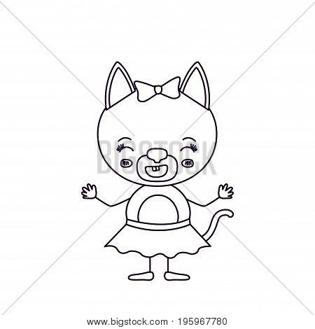 sketch silhouette cute female cat with bow lace with smiling expression in skirt vector illustration