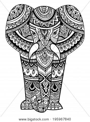 Stylized head of an elephant. Ornamental portrait of an elephant. Black and white drawing. Indian. Mandala.