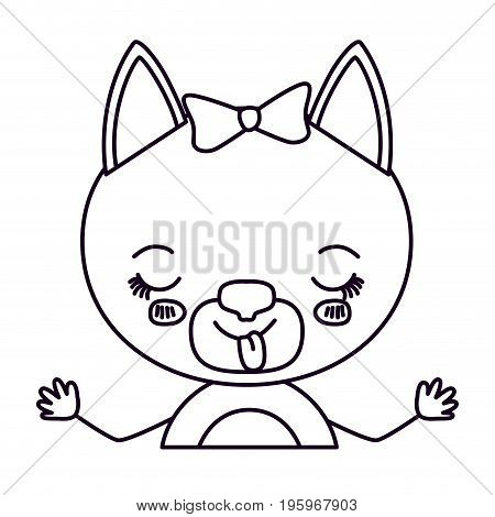sketch silhouette half body of cute female cat with bow lace with disgust expression and sticking out tongue vector illustration