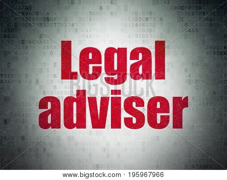 Law concept: Painted red word Legal Adviser on Digital Data Paper background